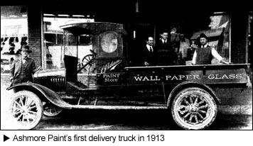 Image of Ashmore Paint's first delivery truck in 1913